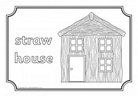 printable straw house three little pigs colouring sheets sb7105 sparklebox