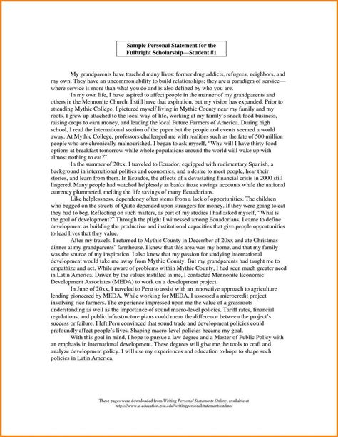 exle of a personal statement for college template