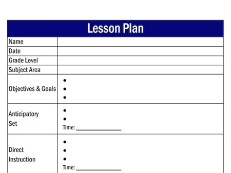 direct interactive lesson plan template lesson plan template free large images