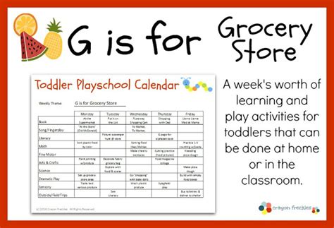 printable lesson plans for two year olds crayon freckles toddler playschool g is for grocery