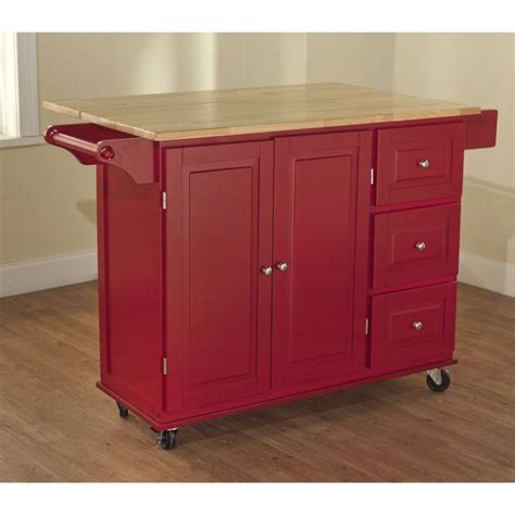 red kitchen island cart simple living aspen red natural three drawer cart by