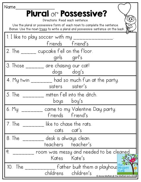 Grammar Worksheets For 2nd Grade by Plural Or Possessive Use The Plural Or Possessive Form Of