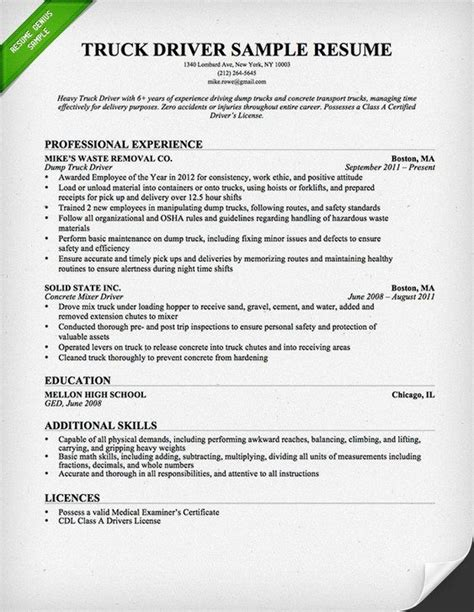 truck driver trucking resume template for free