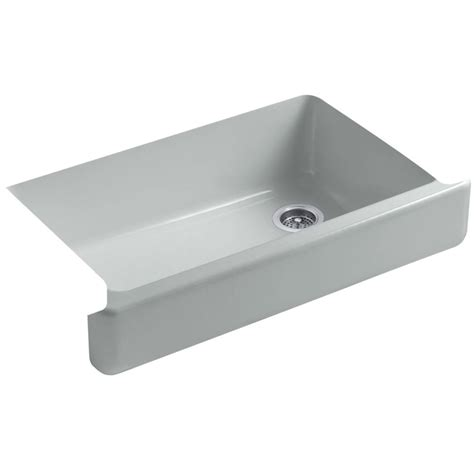 cast iron apron front sink shop kohler whitehaven 21 5625 in x 35 5 in ice grey