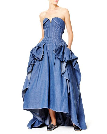 Denim Victoriaje Dress carolina herrera strapless denim gown blue