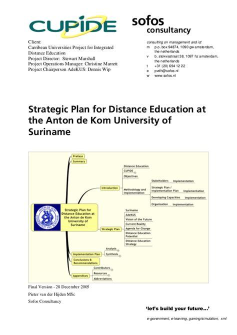 Mba In Strategic Planning Distance Learning by Strategic Plan For Distance Education At The Anton De Kom