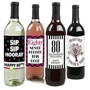 wine birthday decorations amazon com chic 80th birthday wine label pack birthday