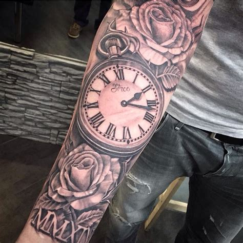 clock sleeve tattoo clock sleeve clock tattoos clocks