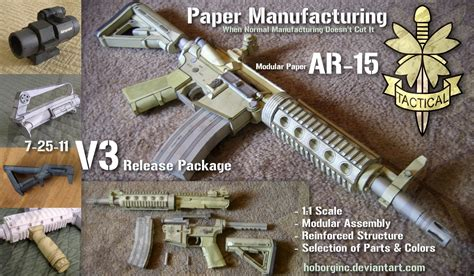 Papercraft For Sale - modular paper ar15 v3 by hoborginc on deviantart