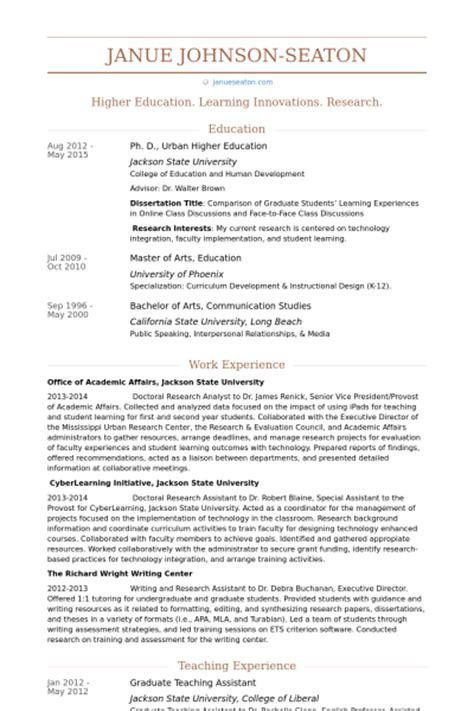 graduate teaching assistant resume sles visualcv