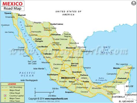 road map mexico mexico road map maps