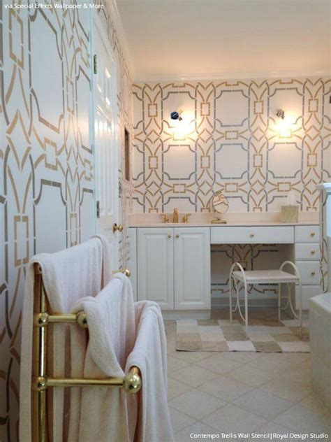 how to use home design gold gold wallpaper wall stencils diy ideas for metallic home