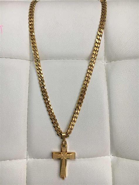 cadenas de oro tejido cubano cadena dije tejido cubano acero enchape en oro 18k 24
