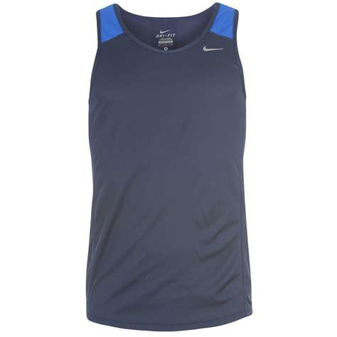 nike racer vest singlet mens navy blue t shirt ebay