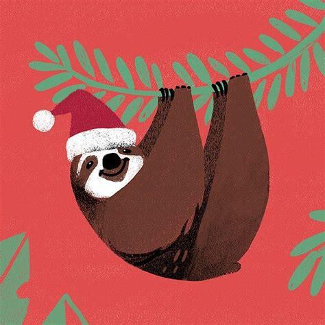 merry lazy christmas  illustration christmas sloth christmas sloth sloth art