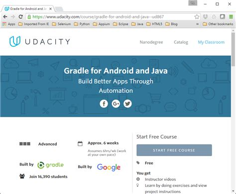 Android And Java by Adventures In Automation Free Udacity Course Gradle For