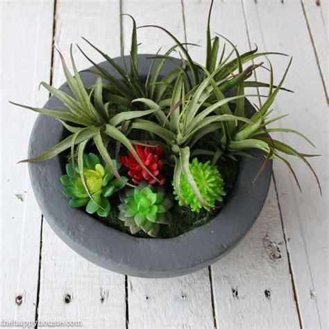 concrete succulent planter diy faux concrete bowl succulent planter the happy housie