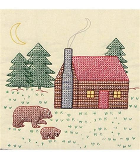 Dempsey Cross Stitch Quilt Blocks by Dempsey Sted Ecru Quilt Blocks Cabin Bears At