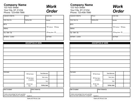 5 Work Order Templates Formats Exles In Word Excel Construction Work Order Template Excel