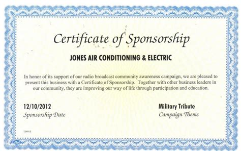 sponsorship certificate template certificate of appreciation to sponsor templates gallery
