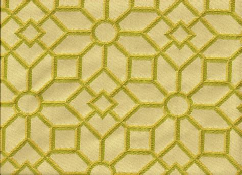 upholstery fabric geometric woven stained glass geometric shapes green yellow ivory