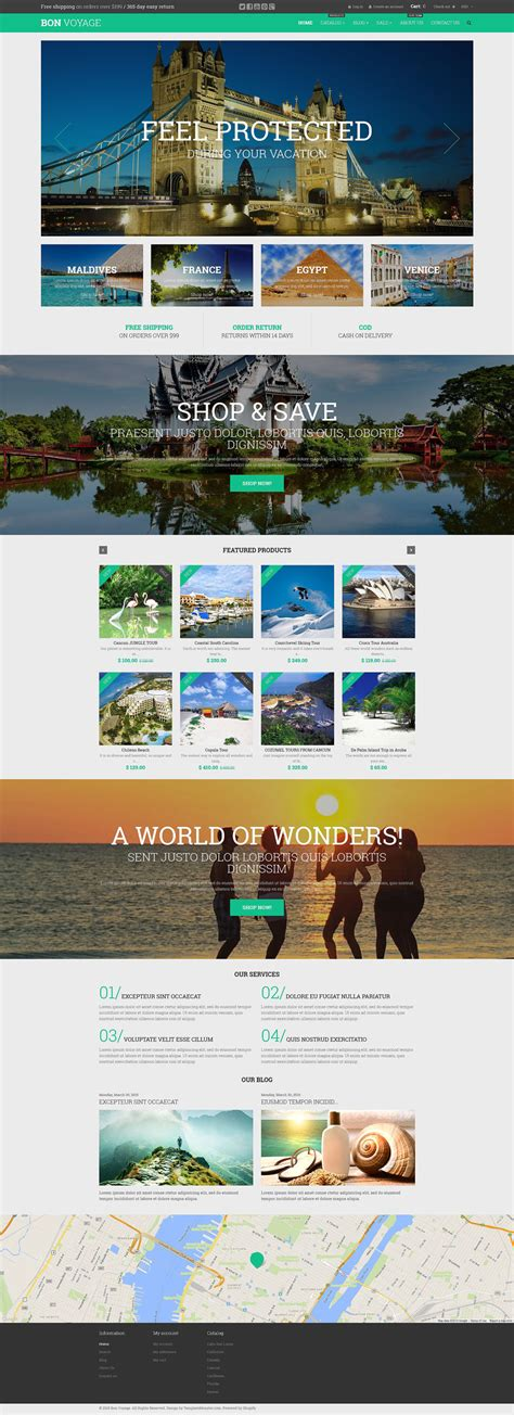 shopify themes for large inventory travel agency shopify theme