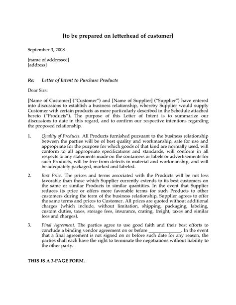 Template Letter Of Intent Template Letter Of Intent Production Template