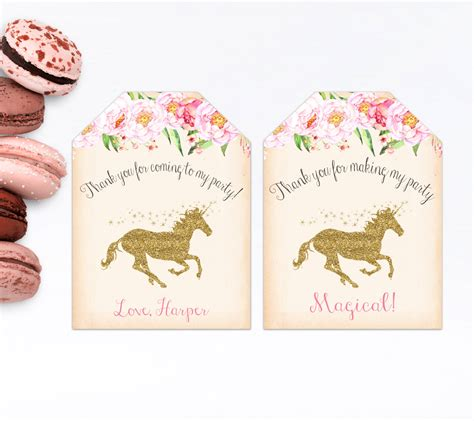 printable unicorn thank you tags unicorn favor tags thank you tags magical printable