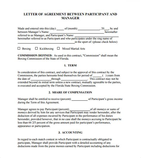 letter of agreement 8 free sles exles format