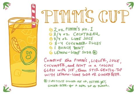 cocktail recipe cards friday happy hour the pimm s cup