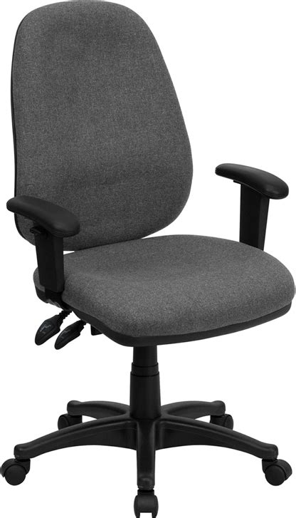 Computer Chair Adjustable Arms by Flash Furniture High Back Gray Fabric Ergonomic Computer