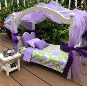 American Canopy Bed American Doll Furniture Canopy Bed Damask Green And