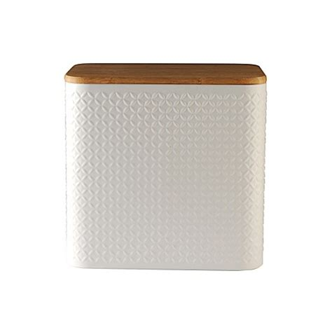 bed bath and beyond bread box typhoon 174 imprima diamond embossed bread box in satin white bed bath beyond