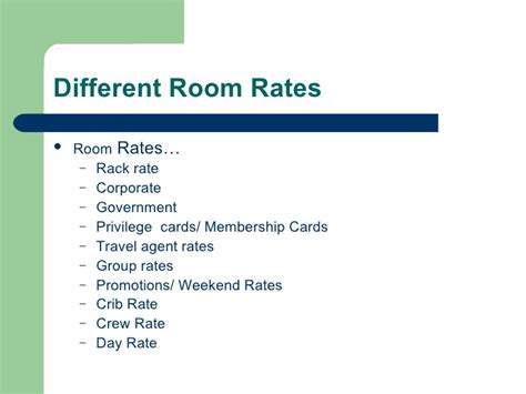 types of hotel room rates introduction to hotel front office