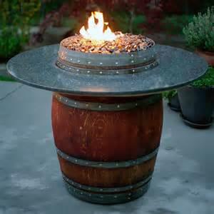 Grand Wine Barrel Fire Pit Table Granite By Vin De Flame