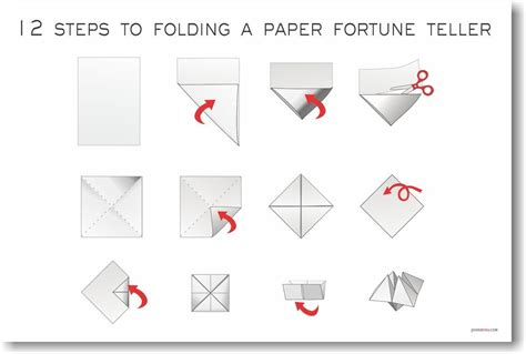 12 steps to folding a paper fortune teller new arts