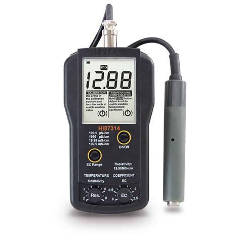 Portable Conductivity Meter Range 0 To 19990 Hi 86304 ec and resistivity portable meter hi87314