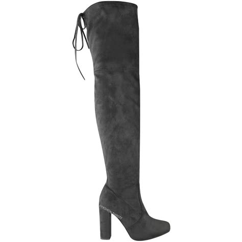 mid heel thigh high boots womens thigh high boots the knee stretch