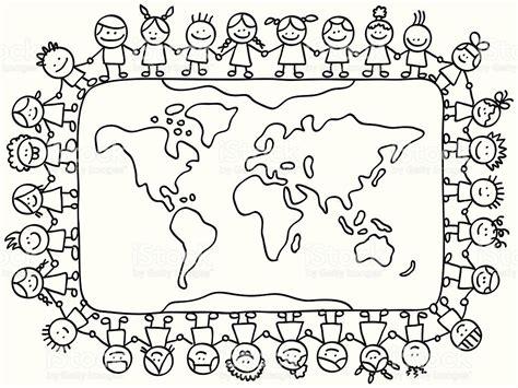 coloring pages holidays around the world feliz pouco crian 231 as segurando as m 227 os em torno do mapa do