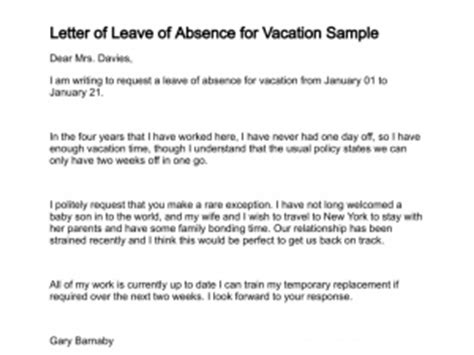 Letter Of Request For Vacation Leave Sample Amp Templates