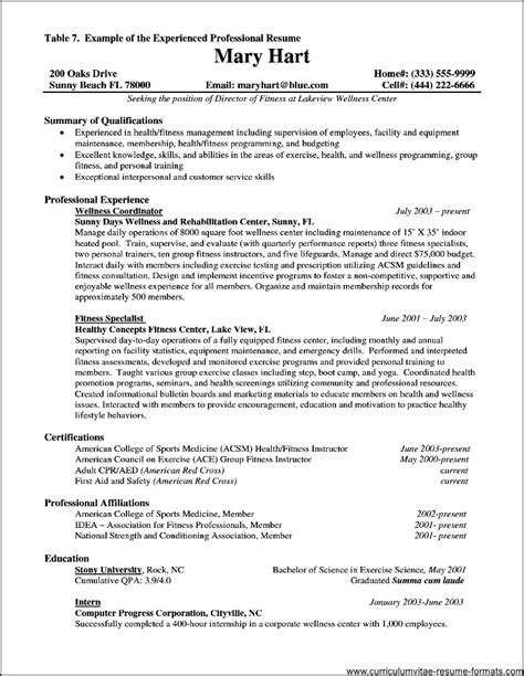 Resume Format For by Resume Format For Experienced It Professionals Pdf Free