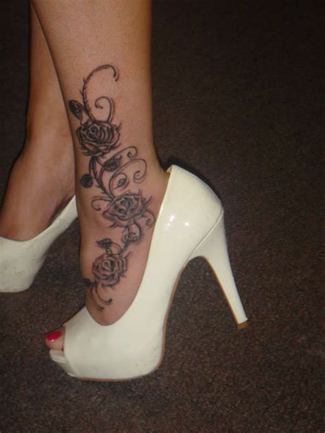 roses tattoo on leg on ankle