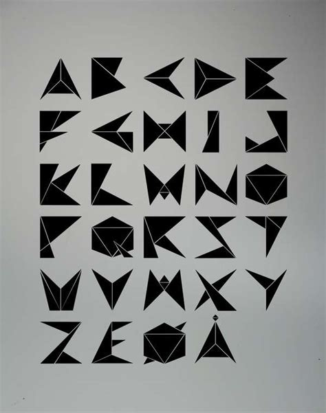 Origami Typography - paper crane lettering ole fredrik ekern gami font