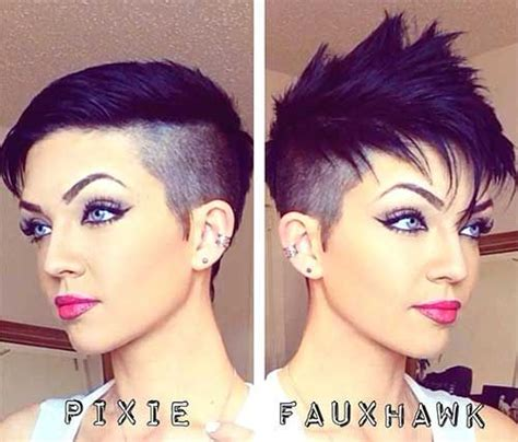 wmens pixie cut with shaved sides faux hawk shaved sides pixie hair pinterest shaved