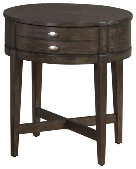 round accent table with drawer jofran antique gray oak 22x22 round end table with x base