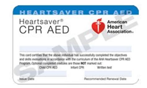 American Association Heartsaver Cpr Card Template by All Care Health Services Registration For Cpr Aed