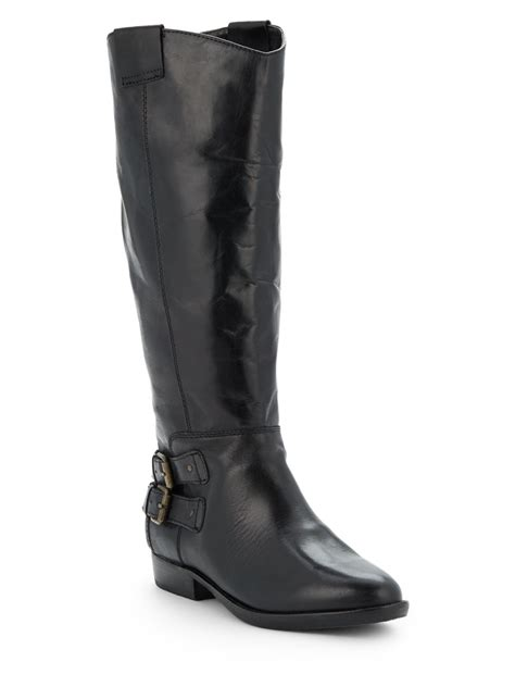 dolce vita beatrix leather western boots in black lyst