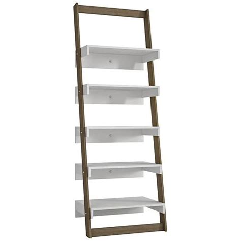 ladder bookcase white carpina 5 shelf white and oak wood ladder bookcase