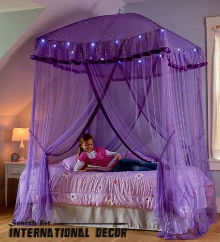 stylish purple canopy bed for girls room curtain designs