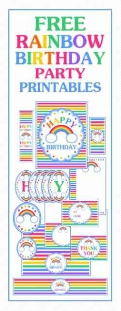 printable rainbow party decorations rainbow party ideas and free printables